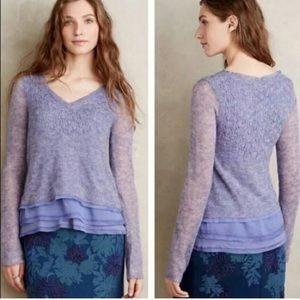 Knitted & Knotted Vneck Ruffle Hem Pullover Sz XL
